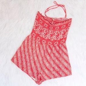 Free People Red & White Tube Romper